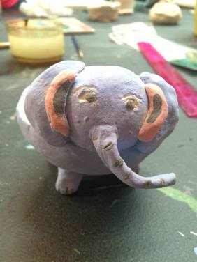 elephant pinch pot clay camp